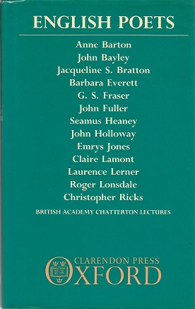 English Poets. British Academy Chatterton Lectures.