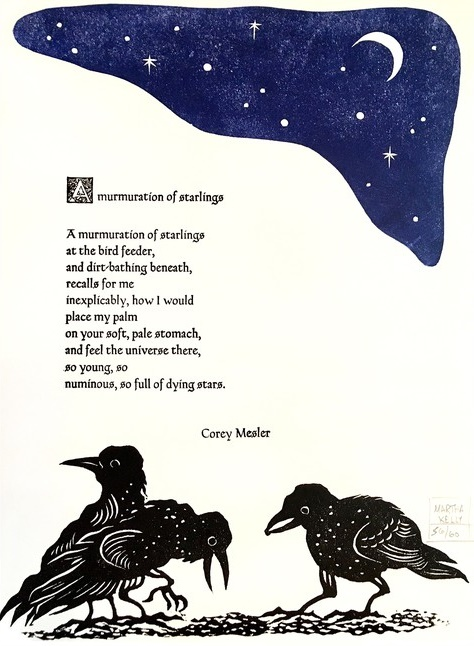 A Murmuration Of Starlings Poetry Broadside. Corey Mesler.