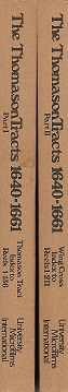The Thomason Tracts 1640-1661: An Index To The Microfilm Edition Of The Thomason Collection Of The British Library, In 2 Volumes + 1980 Update Pamphlet.